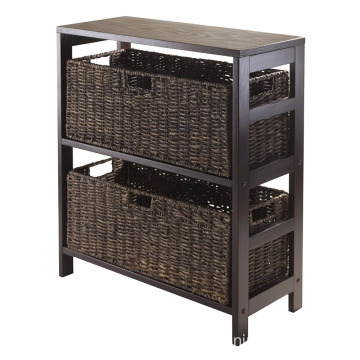 3-Piece Storage Shelf with 2 Large Baskets 3-Piece Storage Shelf with 2 Large Baskets